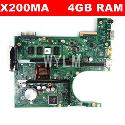X200MA 4GB RAM Mainboard For ASUS F200MA F200M X200M  X200MA laptop Motherboard 100% Tested Free Shipping