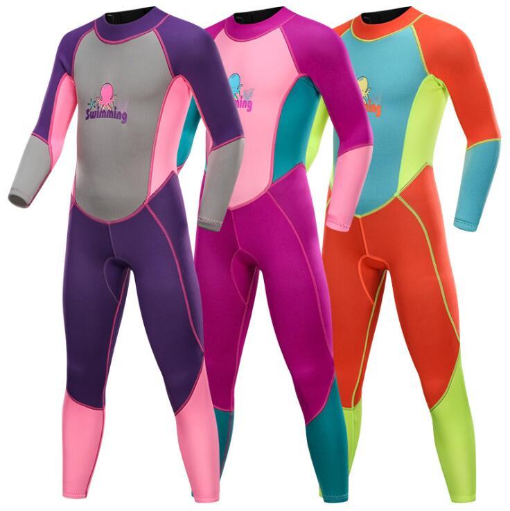2MM enfants combinaison à manches longues Anti-UV une pièce maillots de bain garçons filles surf combinaison de plongée