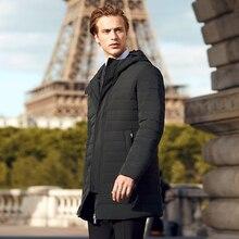 BOSIDENG Chaqueta de plumas de ganso blanco para hombre, abrigo largo de plumas informal de moda de negocios, parka cálida y gruesa para invierno B70133003