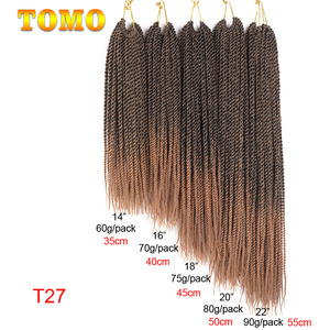 """Image 2 - TOMO 30Roots 14"""" 16"""" 18"""" 20"""" 22"""" Ombre Synthetic Braiding Hair Extensions Small Crochet Braids Senegalese Twist for Black Women"""