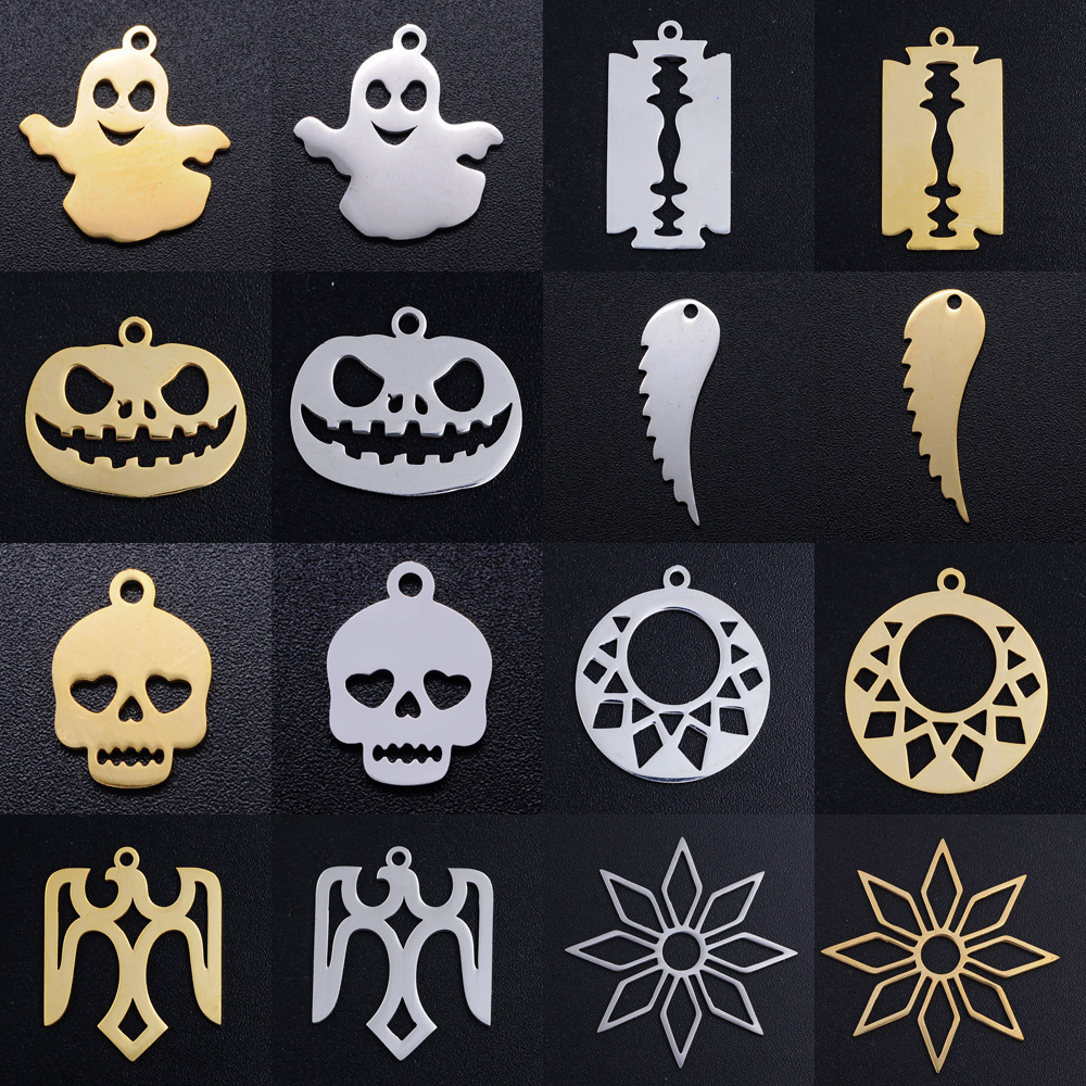 5pcs/lot Halloween Pumkin DIY Charms Wholesale 100% Stainless Steel Skull Ghost Connectors Charm Blade Cross Jewelry Pendant