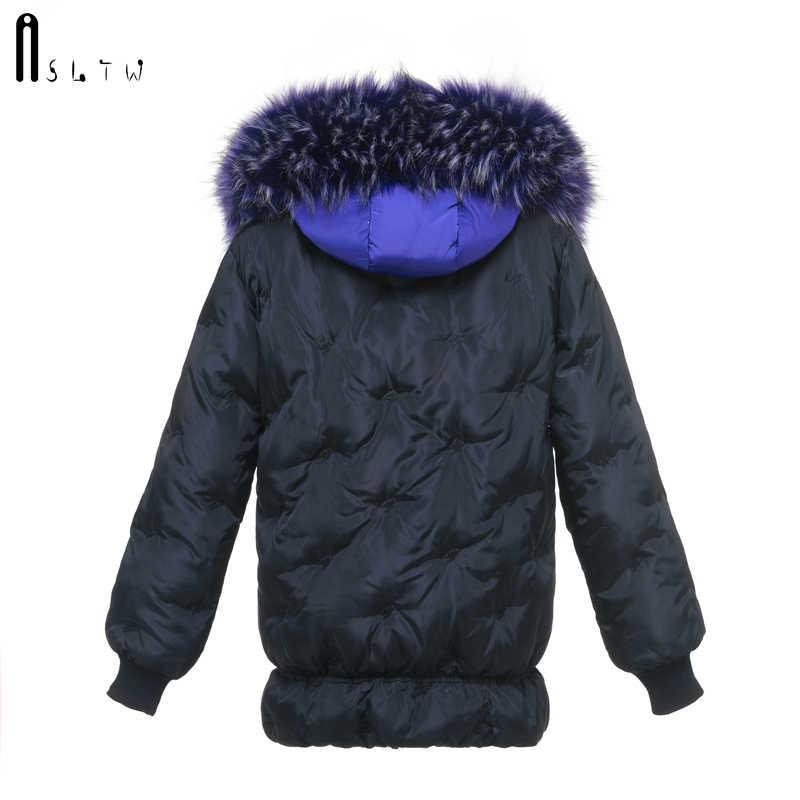 ASLTW зимняя куртка женская новая с длинным рукавом Однотонная вышивка женская парка с меховым капюшоном парка длинное теплое хлопковое пальто для женщин