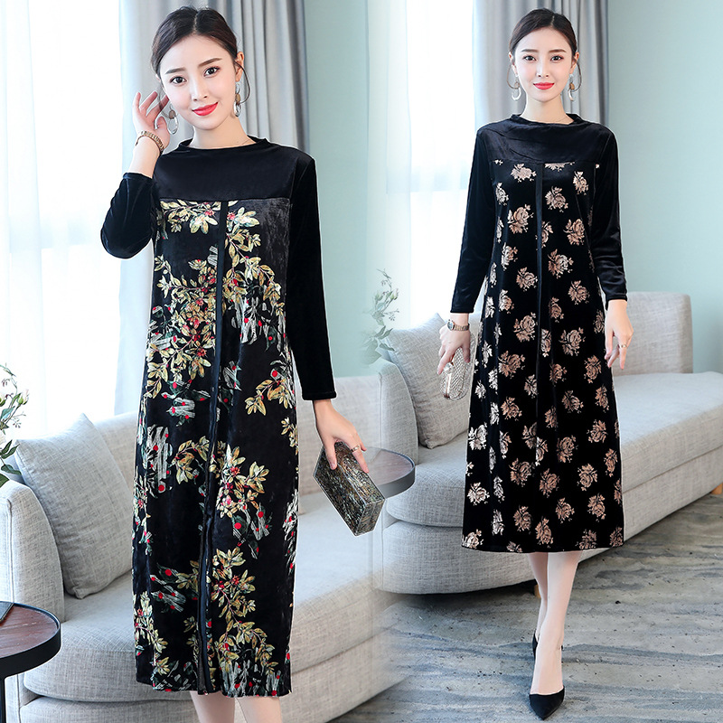Autumn And Winter New Style Korean-style Elegant Half-Turtle-Neck Gold Velvet Mixed Colors Printed Long Sleeve Slimming Dress Wo