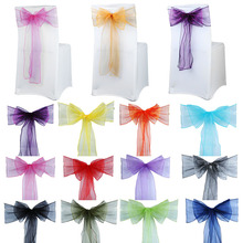100pcs Chair Sashes Organza Chair Bows Wedding Party Supplies Christmas Valentines Decor Sheer Organza Fabric Chair Decoration