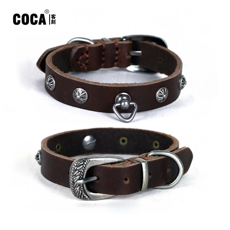 Coca Guest Engraved Environmentally Friendly Cowhide Pet Collar Small And Medium-sized Dogs Bandana Hanging Decoration Dog Colla