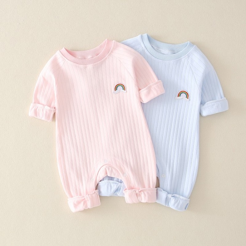 Newborn Infant Kid Baby Boy Girls Long Sleeve Romper Jumpsuit Clothes Outfits Warm Pure Color Cute Lovely Rainbow Clothing