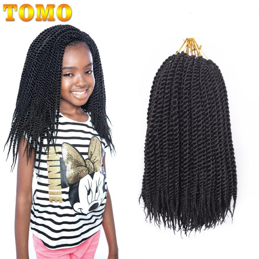Синтетические пряди для наращивания волос TOMO, косички для плетения крючком, Омбре, коричневые бордовые, 22 нити, 12 дюймов 14 дюймов 16 дюймов 18 д...