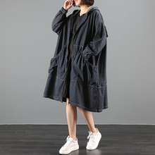 Female new autumn korean style plus size outerwear literary retro polka dot ruffled loose denim
