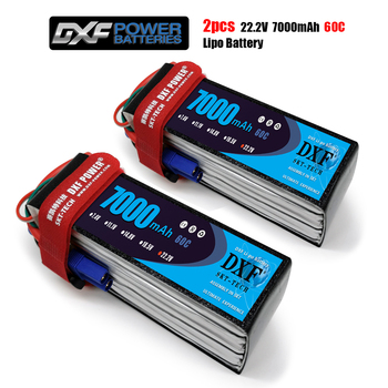 2PCS DXF Bateria 22.2V 7000mAh 60C 6S Lipo Battery AKKU For Trex 600 700 Helicopter RC Car Quadcopter DJI Drone FPV truck