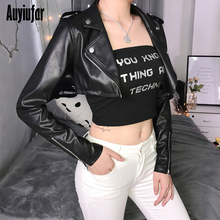 Auyiufar Fashion Streetwear Leather Jacket For Women Long Sleeve Zipper Black Crop Top 2019 Cool Casual Skinny Females New