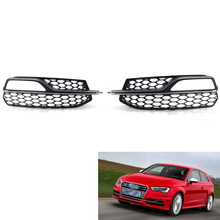 Left + Right Front honeycomb Fog Light Lamp Grilles Grill Fit for A3 S3 S-Line Bumper 2014 2015 2016  - Black (with Chrome trim)