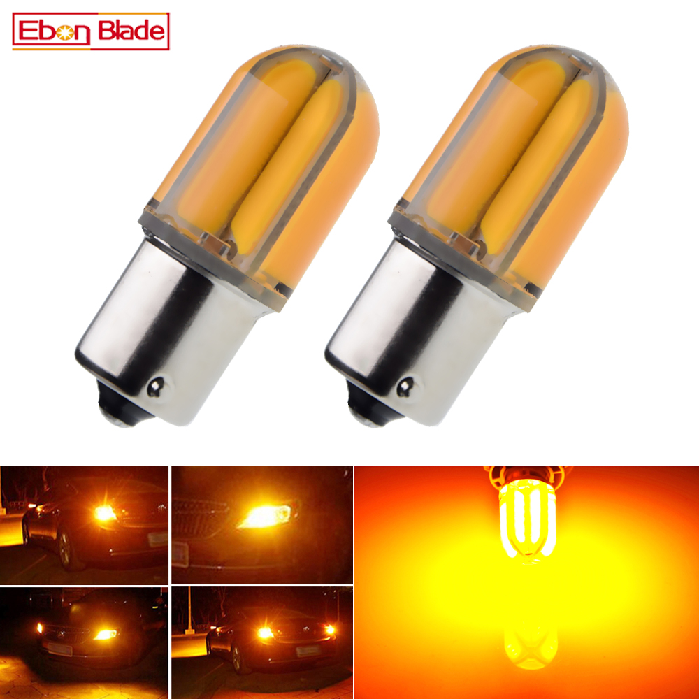 2Pcs Car 1156 BA15S P21W BAU15S <font><b>PY21W</b></font> <font><b>LED</b></font> Lights Bulbs Amber Yellow <font><b>Orange</b></font> Silicone Shell Turn Signal Light Bulb Auto Lamp 12V image