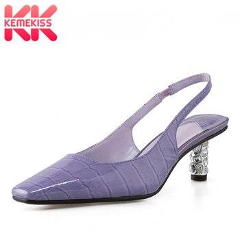 KemeKiss Real Leather Women Sandals Pattern Square Toe Women Shoes Thin Heels Sweet Casual Outdoor Female Footwear Size 34-39