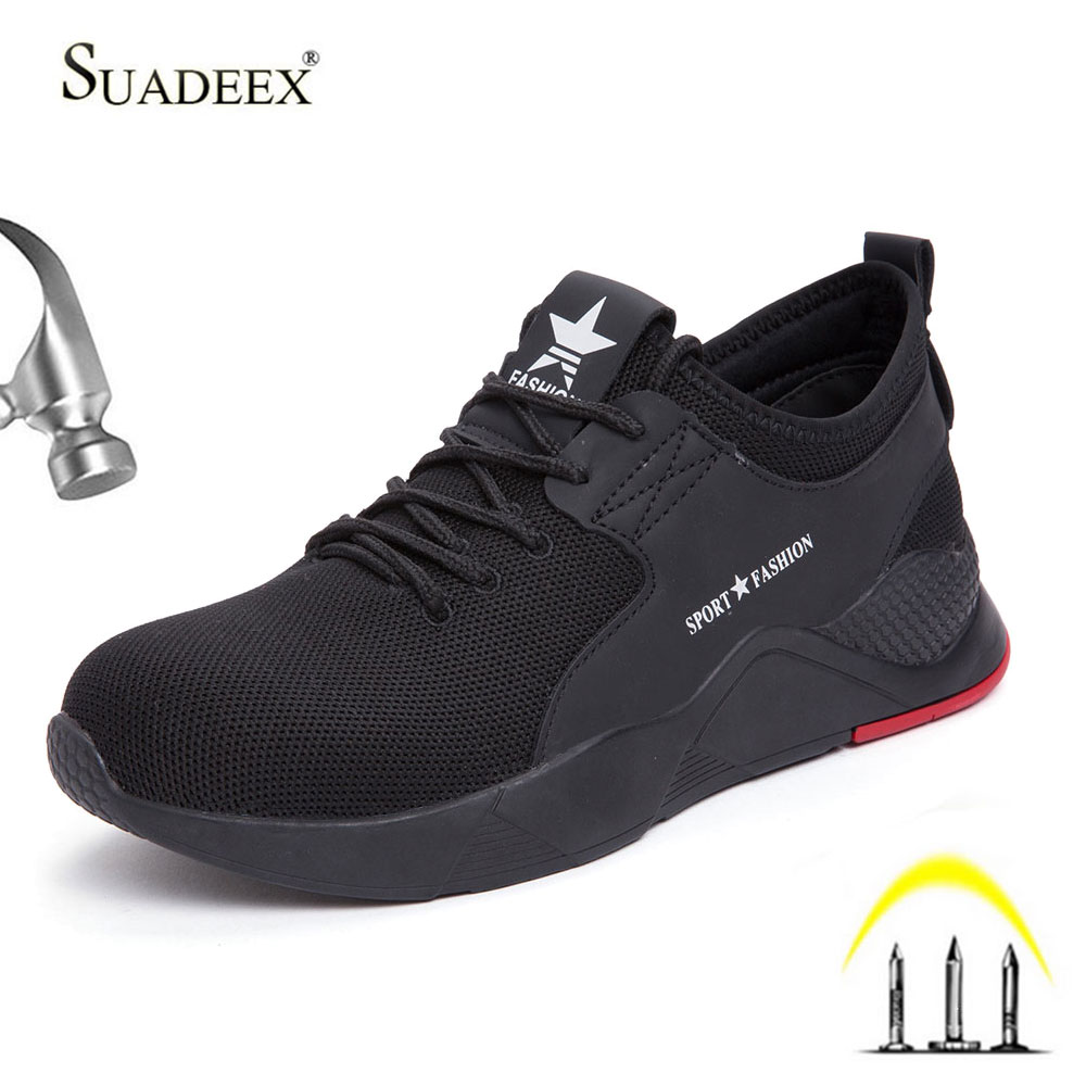 SUADEEX Work Safety Shoes Breathable Men Construction Working Shoes Male Steel Toe Shoes Anti-smash Puncture Proof Safety Boots