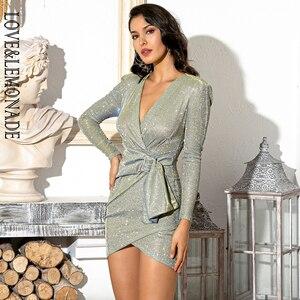 Image 2 - LOVE & LEMONADE Mini robe Sexy avec boucle en métal, tenue Sexy, col en v, épaules, tenue de fête réfléchissante, LM81989 1