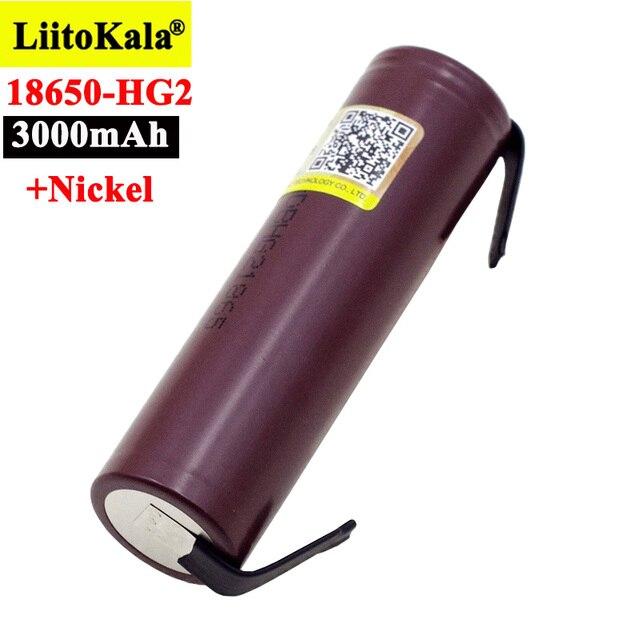 Liitokala new HG2 18650 3000mAh battery 18650HG2 3.6V discharge 20A, dedicated For hg2 batteries + DIY Nickel 1