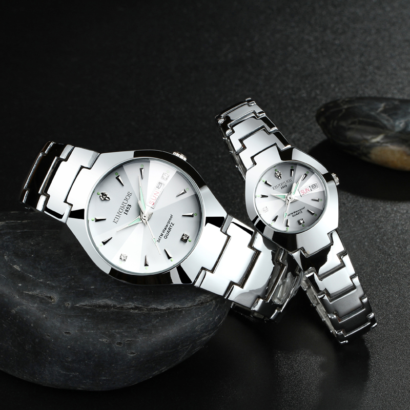 Fashion Business Quartz Watch For Women Men Elastic Sliver Color Stainless Steel Tide Lovers Couple Party Gifts Bracelet Watches