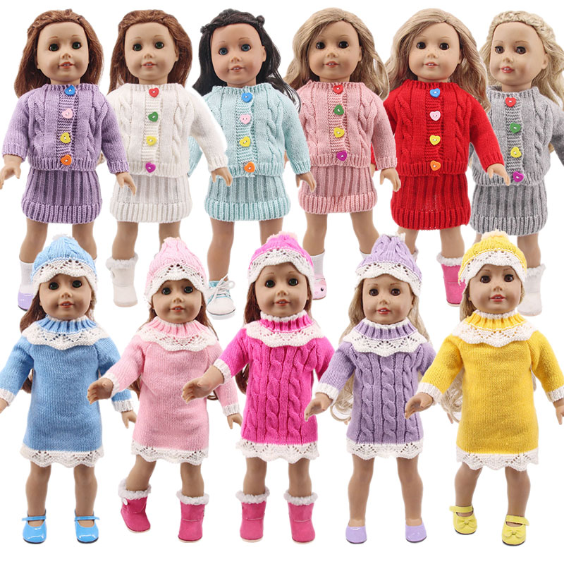 Кукла-младенец вязаный свитер шапка, платье для девочек 18 дюймов American поколения Одежда для кукол наряд для маленьких девочек