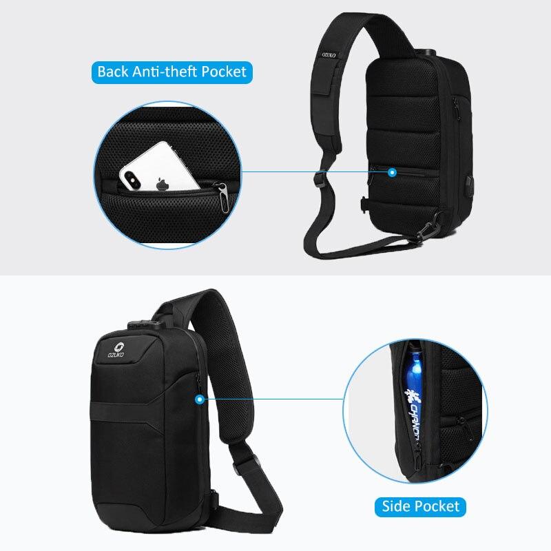 Image 4 - OZUKO Mens Messenger Bag Antitheft Waterproof USB Recharging  Shoulder Crossbody Bags Chest Pack Male Sling Bag for Short  TripCrossbody Bags