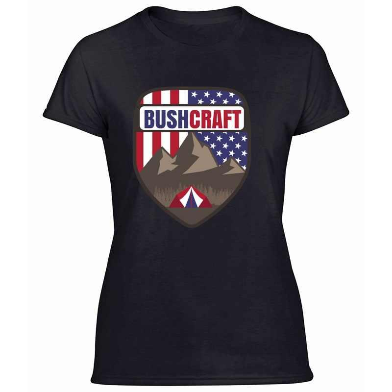 Moda Bushcraft Usa bandera de los EE. UU. Tienda de montaña-regalo Idea camiseta hombres algodón hombres camisetas 2020 Mujer