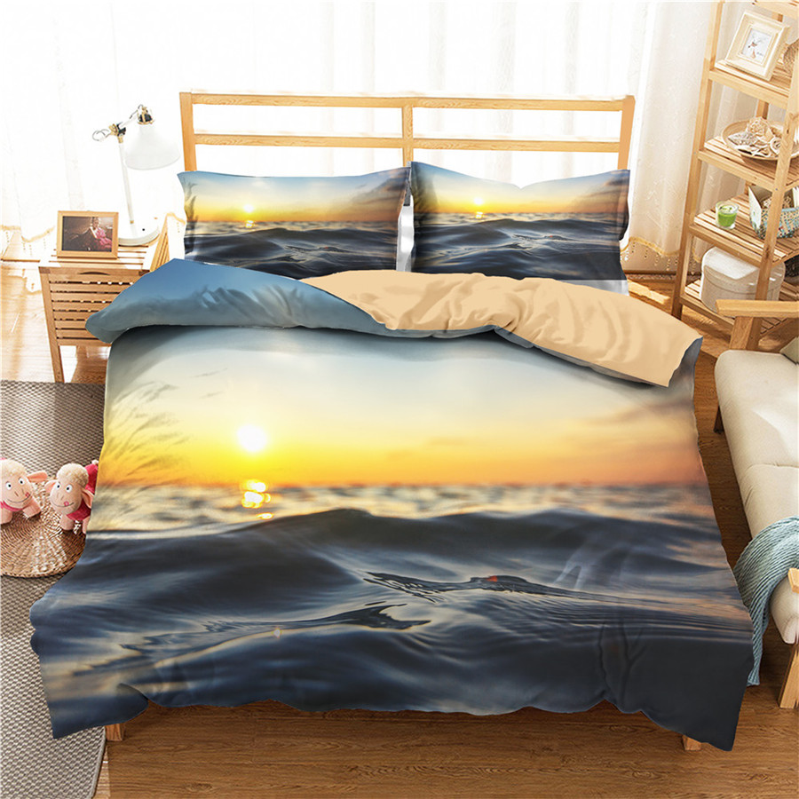 A Bedding Set 3D Printed Duvet Cover Bed Set Beach Sea Wave Home Textiles For Adults Bedclothes With Pillowcase #HL50