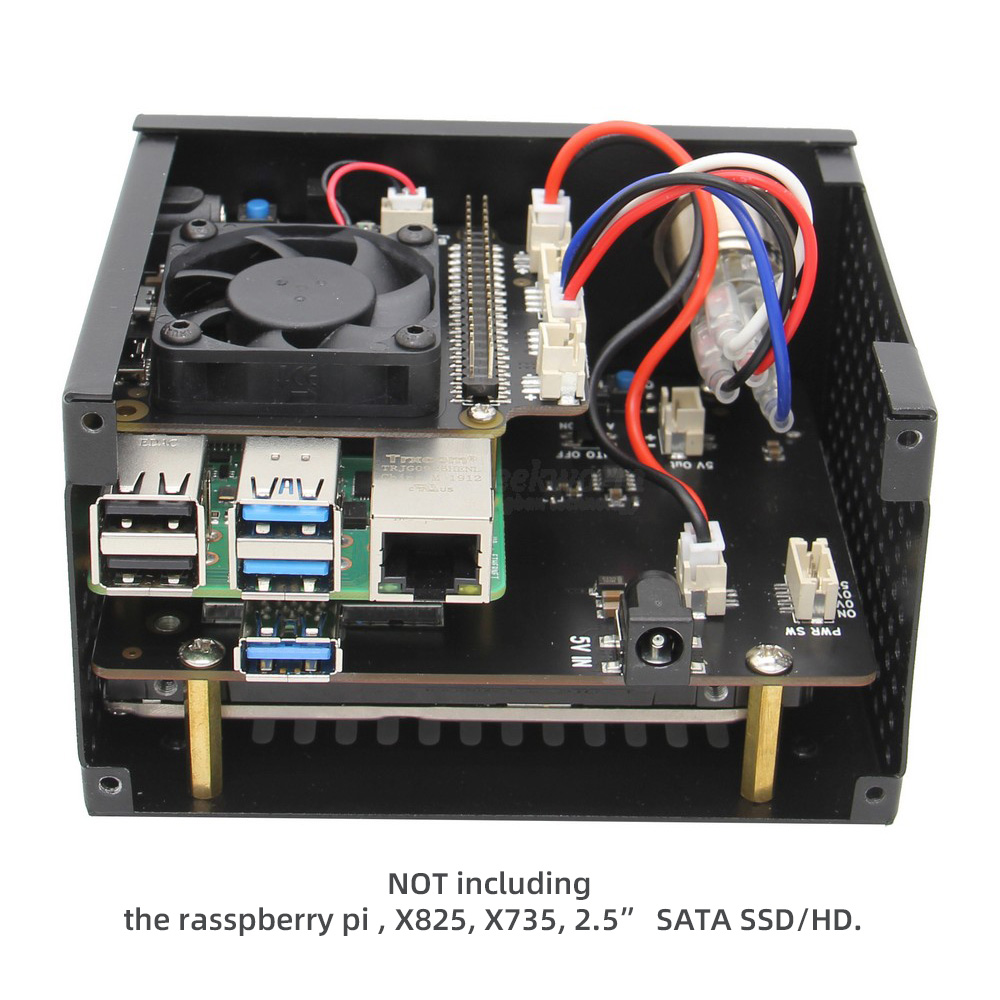 Image 5 - Raspberry Pi X825 SSD&HDD SATA Board Matching Metal Case+Switch+Cool Fan, Honeycomb chassis for X825 Raspberry Pi 4 Model B X735-in Demo Board Accessories from Computer & Office