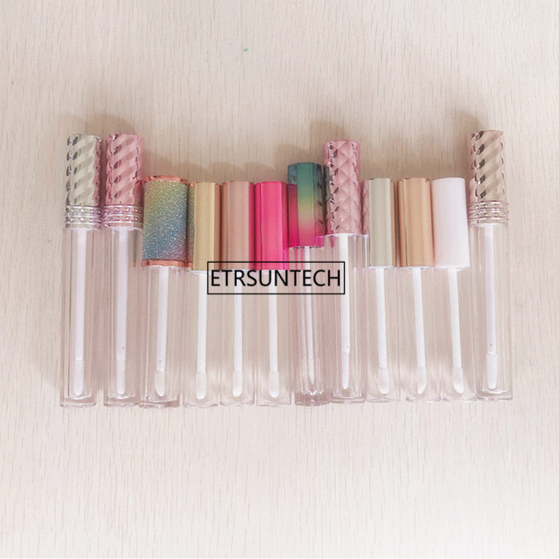 10pcs 30pcs 50pcs Clear Lip Gloss Containers With Silver Gold Rosegold Pink Purple Lid Empty Cosmetic Containers Lip Balm Tube