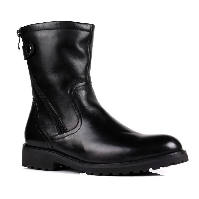 Mens Winter Fur Lining Snow Boots Warm Genuine Leather Mid-Calf Boots With Buckle Antiskid Platform Italian Shoes Male Footwear