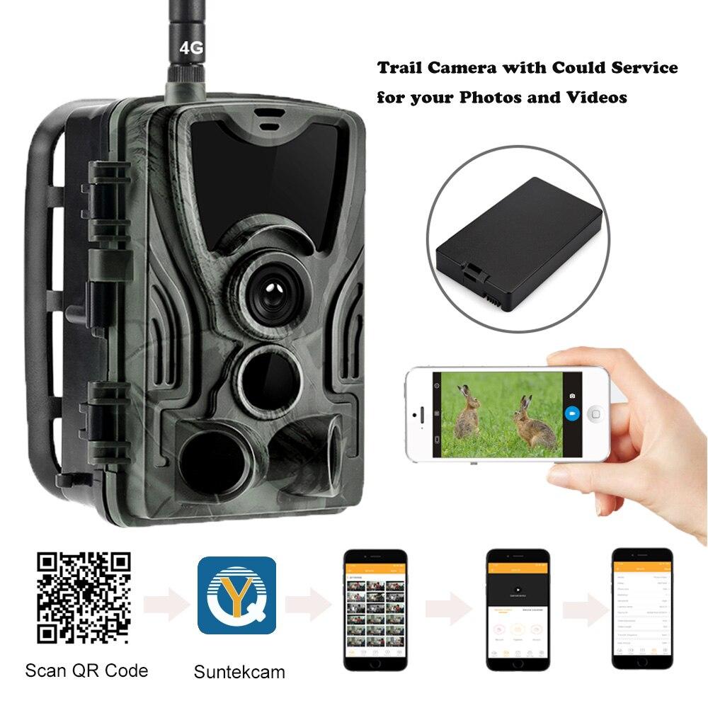 APLICATIVO de Serviço Clould Caça Trail Camera 4G Selvagem HC801LTE Com 5000Mah Carregador de Bateria Celular de Vigilância Visão Noturna