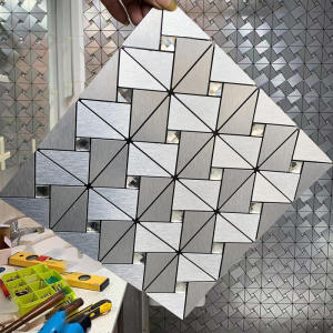 Wall-Panel Geometric-Pattern Kitchen Metal for Living-Room Bedroom Mural 3D Luxury