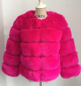 Image 5 - Abrigos de visón S 3XL para Mujer, chaqueta de piel sintética rosa a la moda, abrigo cálido y grueso elegante, para invierno, 2020