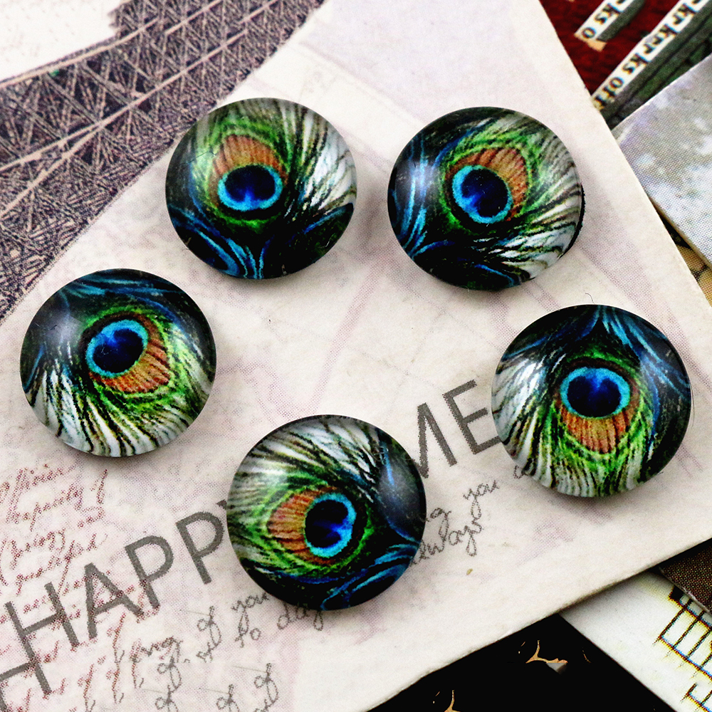 Hot Sale 20pcs 12mm Handmade Cool Style Photo Glass Cabochons  (E6-28)