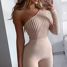 Ribbed Knitted One-Shoulder Sexy Jumpsuit Long Sleeve Skinny Ladies Bodysuit Aut
