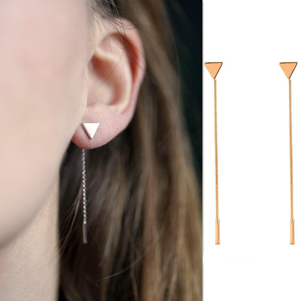 Korean Triangle Metal Geometric Earrings Long Chain Tassels Jewelry Earrings For Women Wedding Party Jewelry Fashion Accesorios