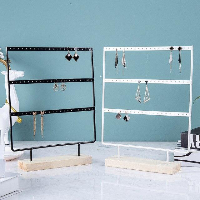 Wholesale Wooden Base Metal Ear Studs Pendant Jewelry Holder Display Stand Organizer Earrings Presenting Rack 24/44/66 Holes 6