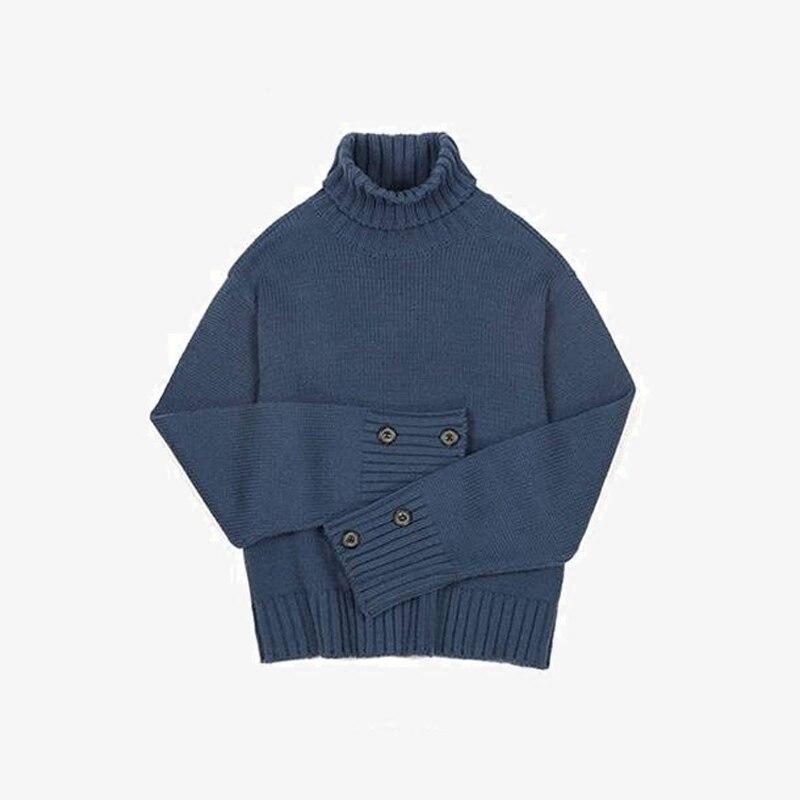 Kpop Bangtan garçons bleu marine laine chandail JUNGKOOK même col roulé automne hiver unisexe à manches longues chandails tricotés vêtements d'extérieur
