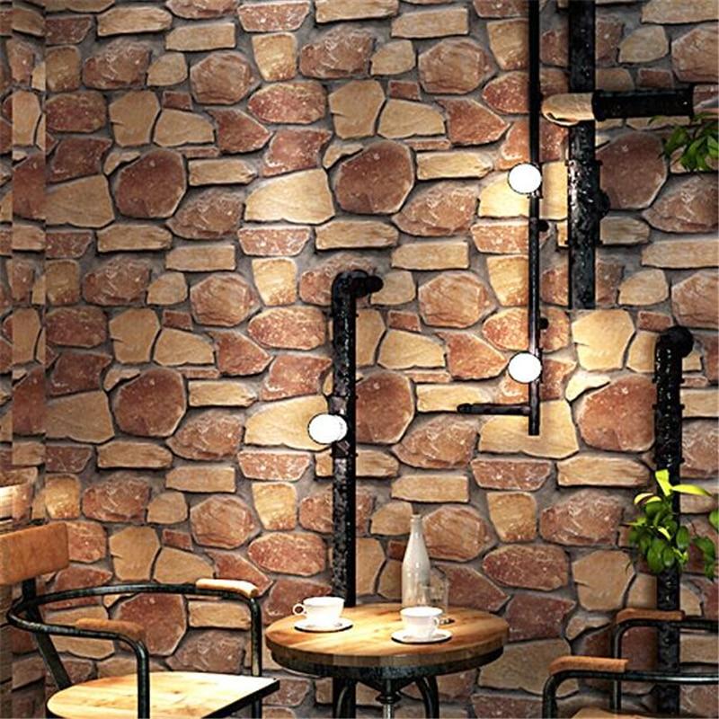 Wellyu 3D Tiga Dimensi Wallpaper Batu Bata Budaya Bata Imitasi Batu Ruang Tamu Dinding Bata Bata