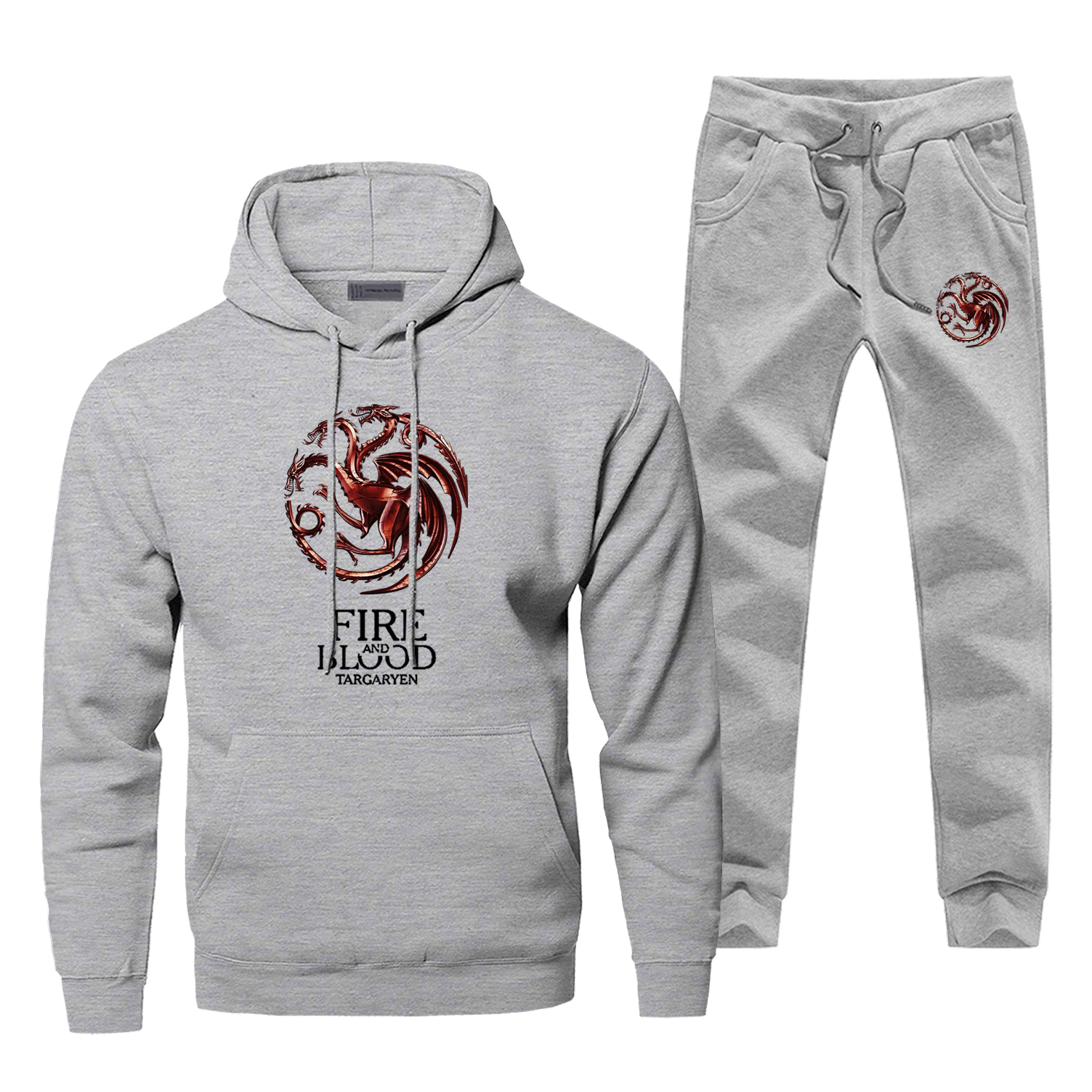Game Of Thrones Tracksuit Fire And Blood Warm Hoodies +pants Mens 2Pcs Sets House Targaryen Sweatshirt Sportswear Sweatpants