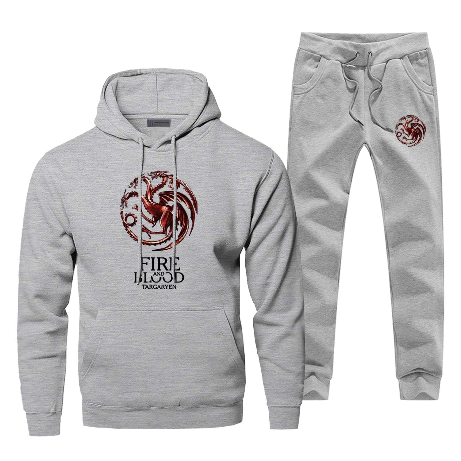 Game Of Thrones Tracksuit Fire And Blood Warm Hoodies +pants Mens 2Pcs Sets House Targaryen Sweatshirt Sportswear Sweatpants