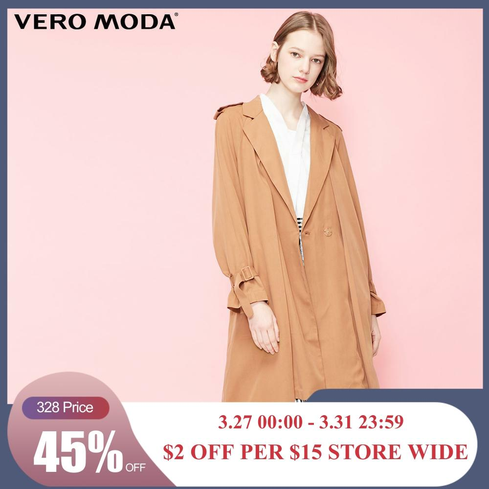 Vero Moda Women's Concealed Buttons Lapel Lace-Up Trench Coat | 319121527