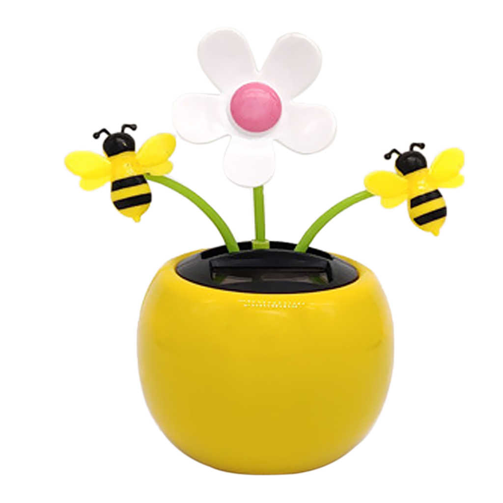 Solar Powered Sunflower Insect Dancing Doll Home Decor Honeybee