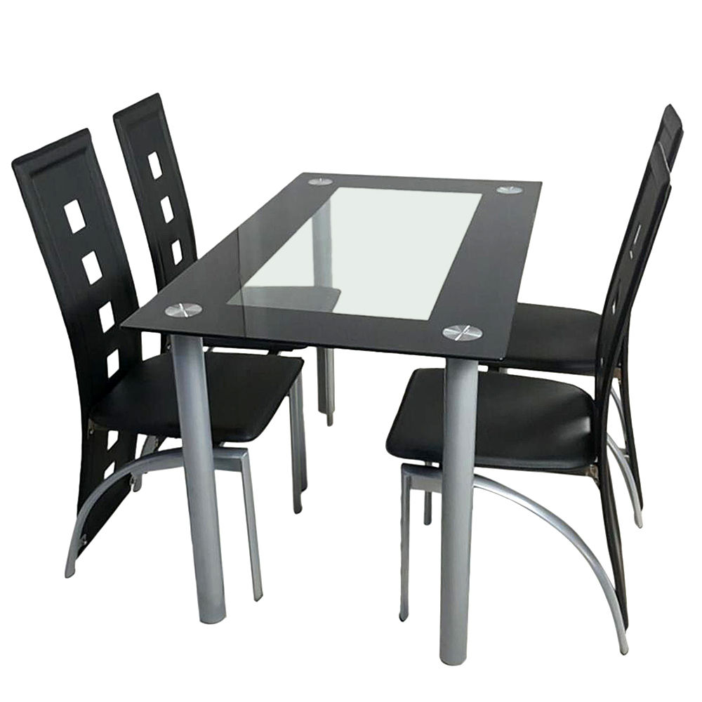 【US Warehouse】110cm Dining Table Set Tempered Glass Dining Table With 4pcs Chairs Transparent & Black