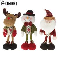 Festnight Lovely Christmas Toy Delicate Adorable Standing Santa Clause Reindeer Snowman Doll Favor Gift Christmas Decoration