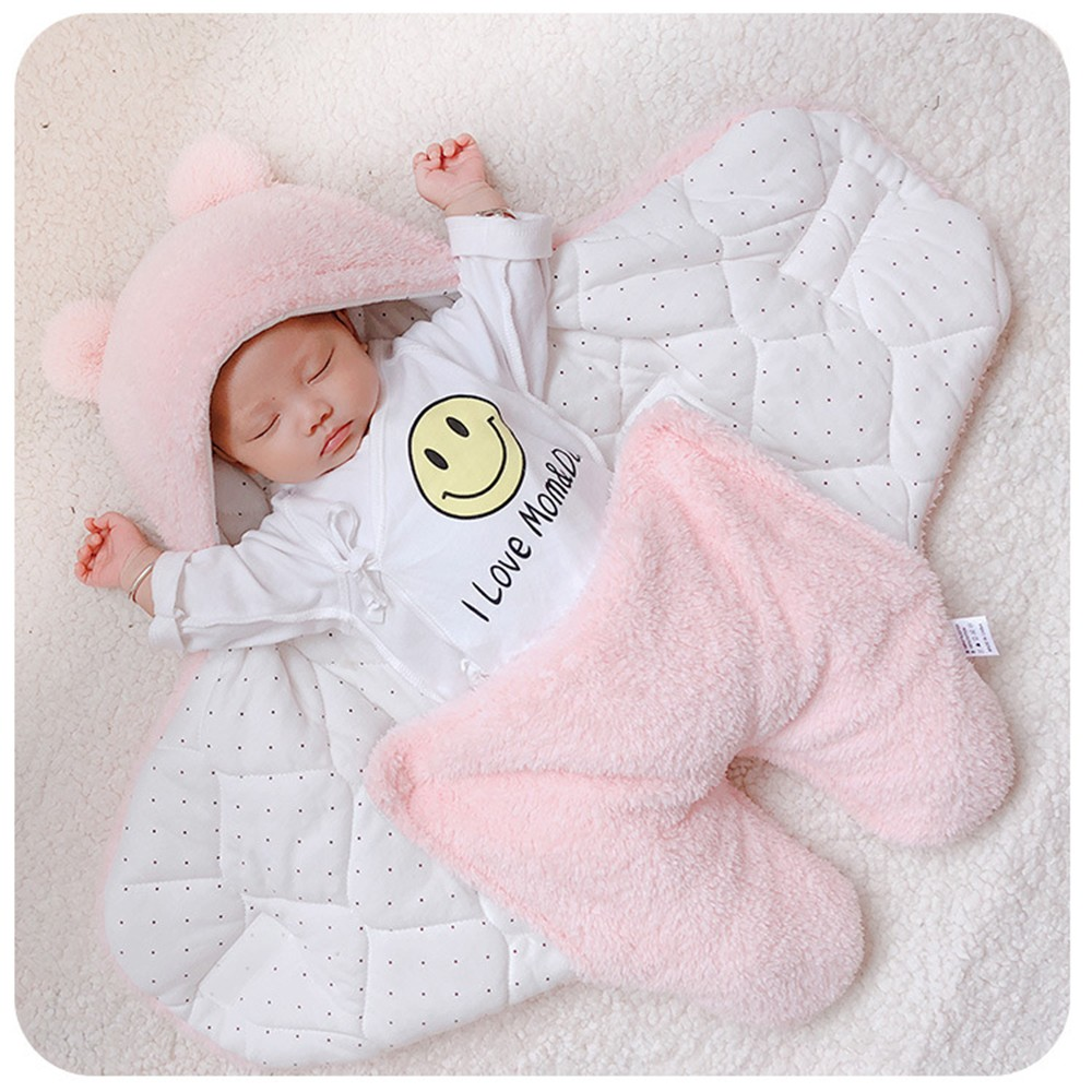 Thicken Baby Sleeping Bag Soft Newborn Swaddle Winter Warm Cotton Infant Stroller Blanket Stroller Wrap For 0-3 Months Babies