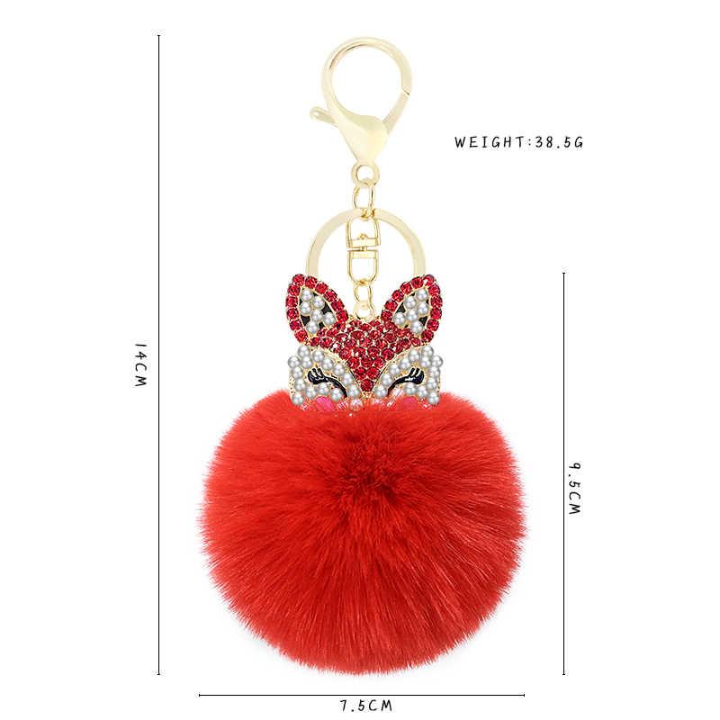 Cute Mini Fox Fur Ball Keychain Buatan Tangan Bulu Halus Pompom Bola Bertatahkan Berlian Imitasi Tas Wanita Aksesoris Mobil Gantungan Kunci Liontin