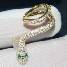 Korean snake ear buckle inlaid crystal earrings creative stud