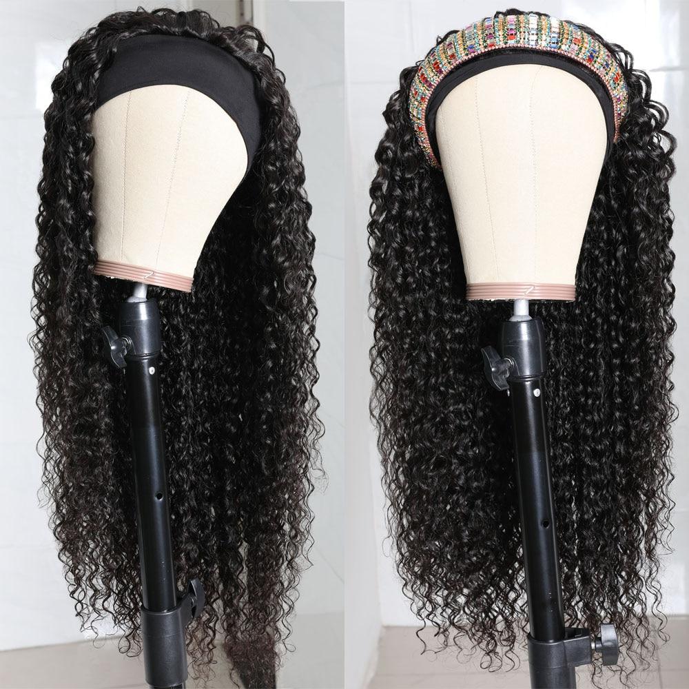 Julia Malaysian Curly Headband Wig Human Hair 14-26 Virgin Hair Scarf Wig Easy to Install Jerry Curl Hair Wig with Headband (3)