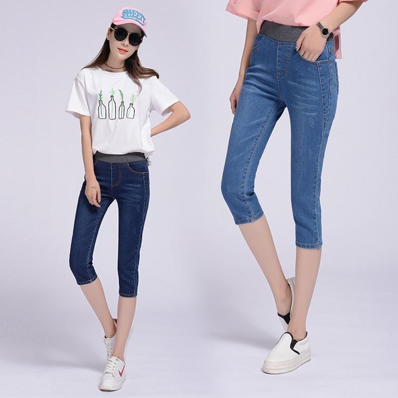 2019 New Style Summer Women's Clothing Cowboy Capri Pants Elastic Waist WOMEN'S Pants Slim Fit Slimming Pants