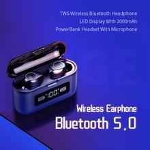 KUGE bezprzewodowe słuchawki Bluetooth 5 0 TWS bezprzewodowe słuchawki z Bluetooth wyświetlacz LED z 2000mAh Power Bank zestaw słuchawkowy WithMicrophone tanie tanio Ucho NONE Inne CN (pochodzenie) Bezprzewodowy + Przewodowe