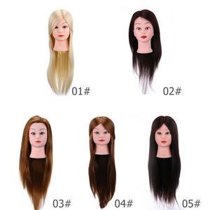 Image 2 - 理髪トレーニングヘッド本物の人間の髪の人形美容マネキンヘッド美容マネキン
